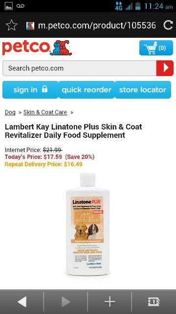 Lambert Kay Linstone Plus Skin Coat Revitalizer Daily Food Supplament Pet Health Care Pet Health Dog Skin