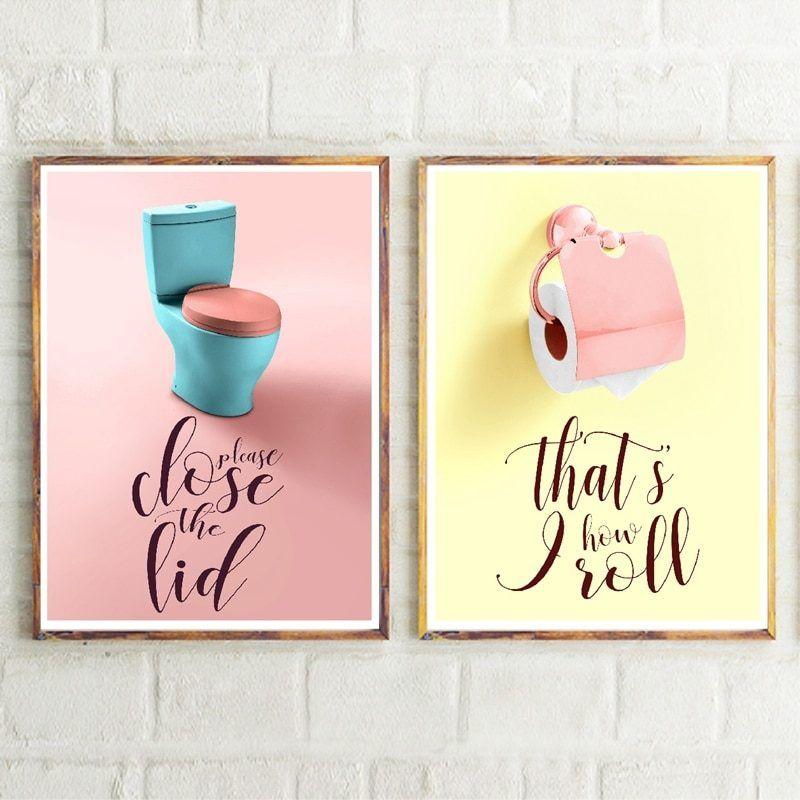 Funny Bathroom Sign Canvas Poster Wall Art Prints Toilet Signs Bathroom Decor
