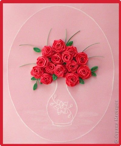 Quilling Card Pergamano Embossing Paper Roses Valentine S Day
