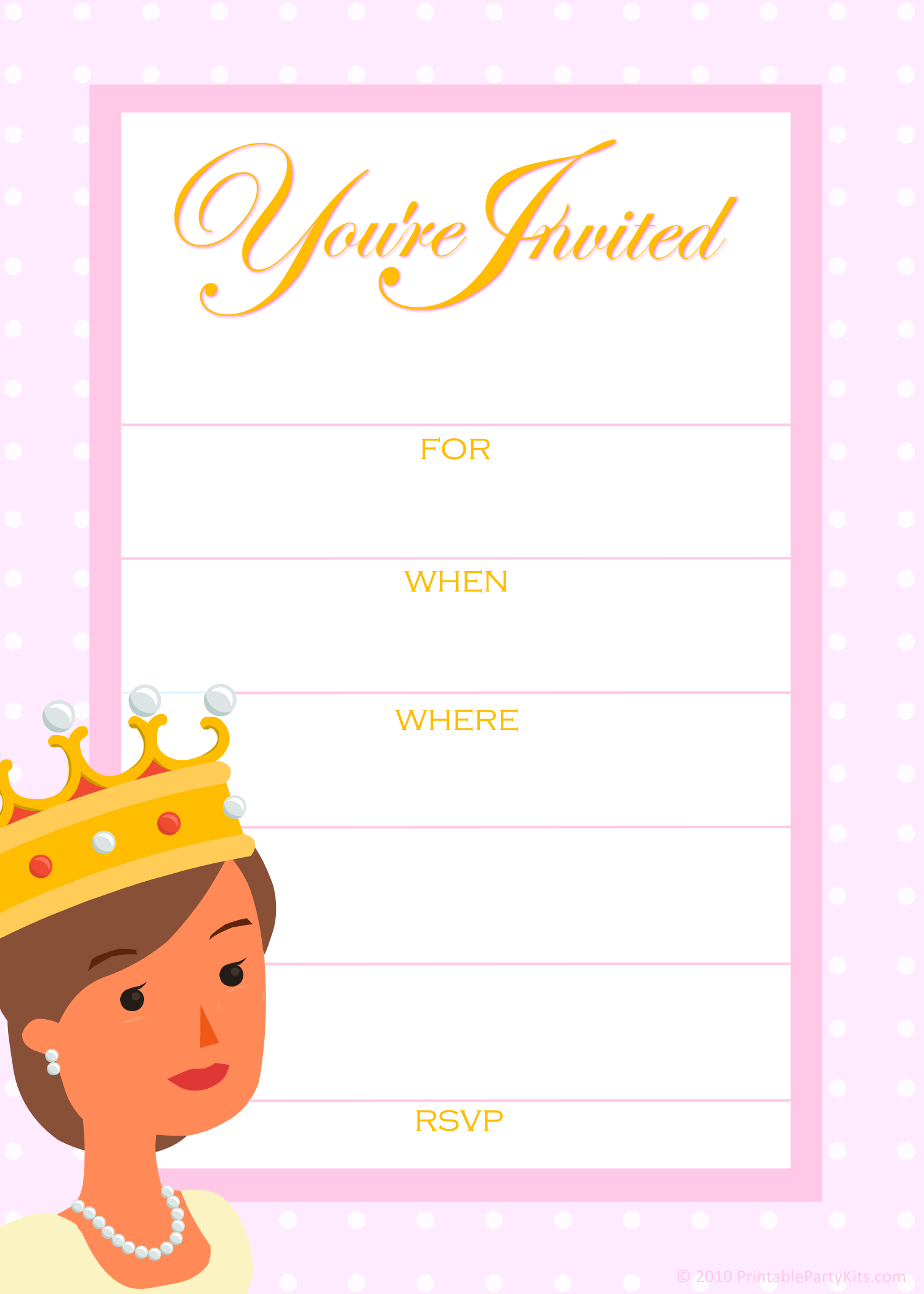 Free Princess Birthday Party Invitation Templates | Princess party ...