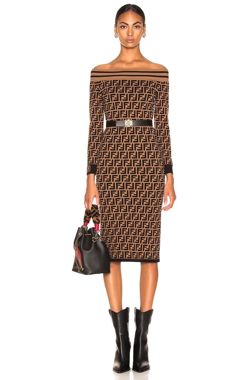 cce07fb14629 Fendi Logo Print Off Shoulder Sweater Dress in Tobacco   Black ...