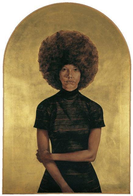 SE trata de una imagen creada por adición ya que se ha añadido óleo y pan de oro al lienzo.BARKLEY L. HENDRICKS Lawdy Mama, 1969  53 3/4 × 36 1/4 in 136.5 × 92.1 cm