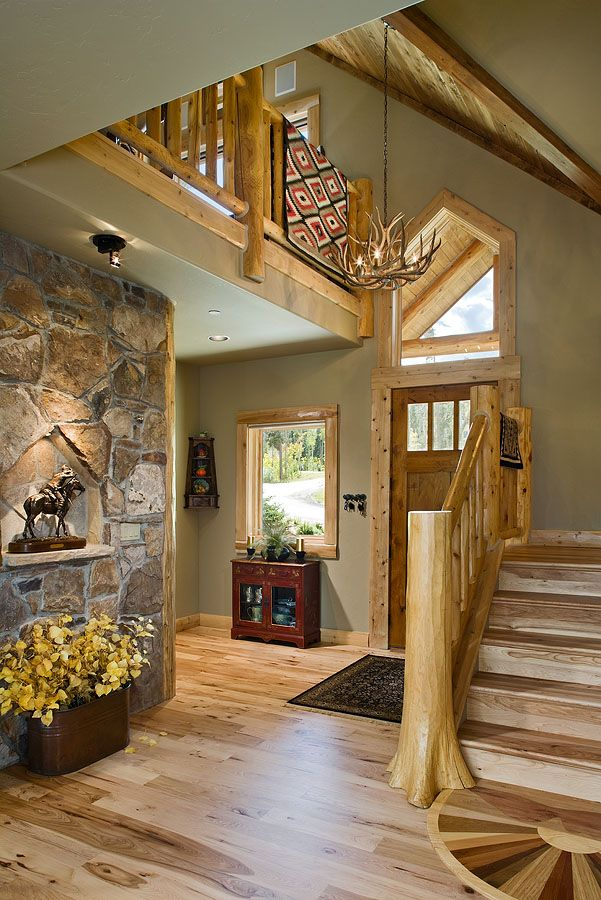 Foyer Of Lakota Lodge Hybrid Love The Log And Drywall
