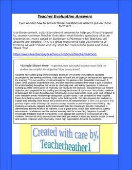 Teacher Evaluation Answers Sample Responses After Being Formally