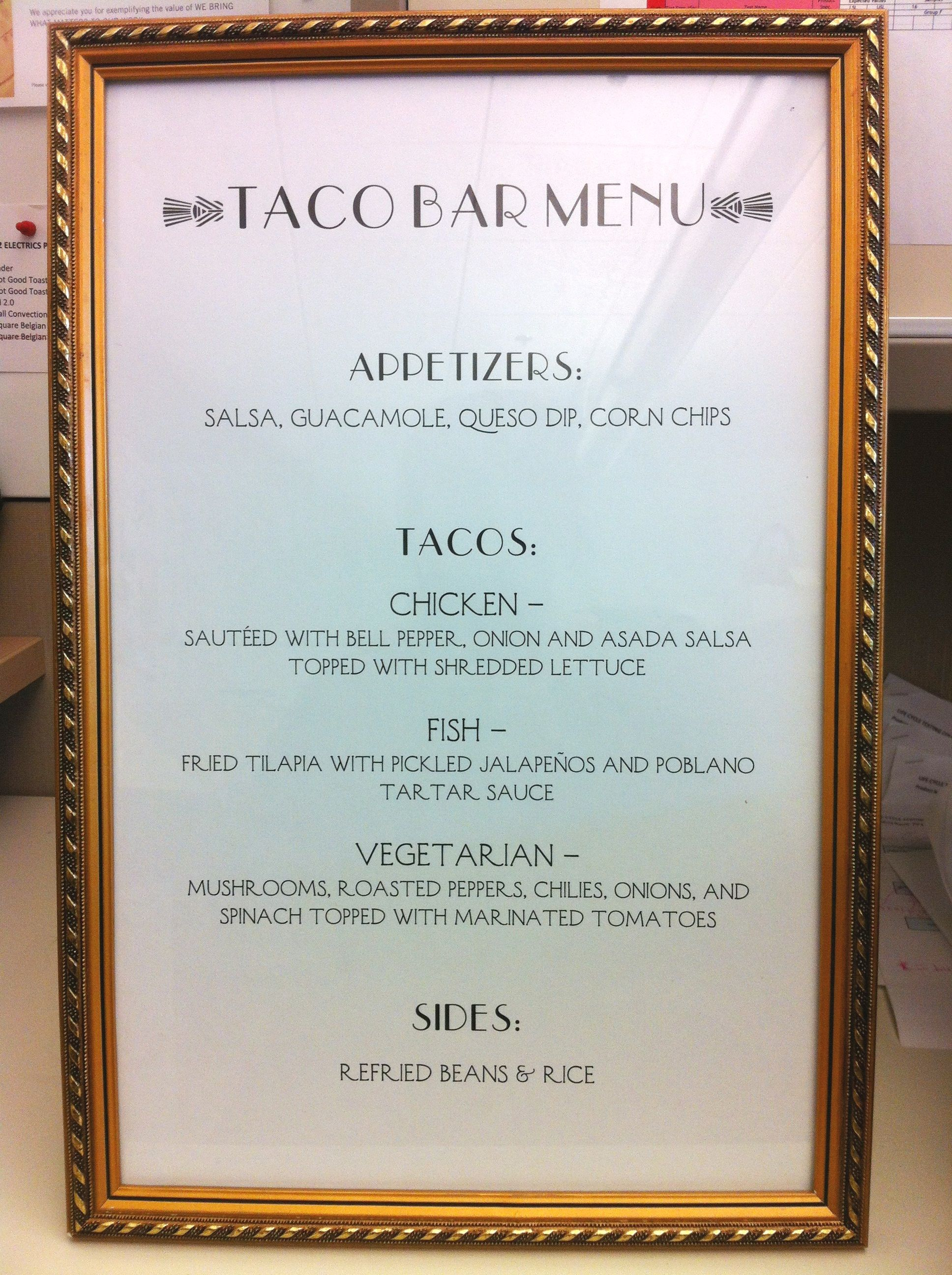 fancy 11 x 17 taco bar menu