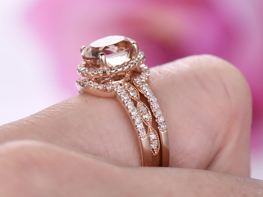 Oval Morganite Engagement Ring Bridal Sets Contoured Matching Ring ...