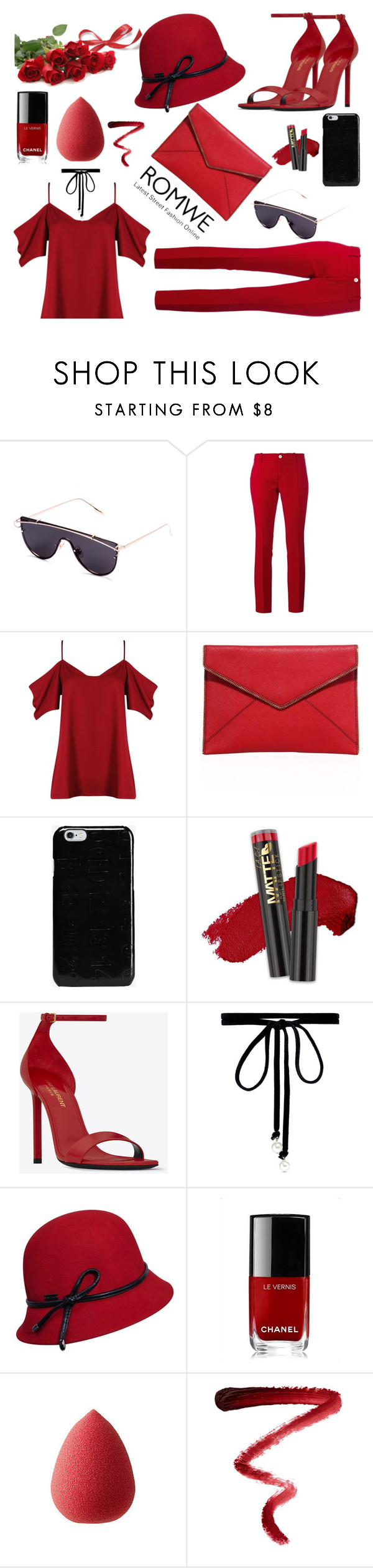 """all red"" by anay05 ❤ liked on Polyvore featuring Gucci, Boohoo, Rebecca Minkoff, Maison Margiela, Yves Saint Laurent, Joomi Lim, Betmar, Chanel, beautyblender and Ellis Faas"