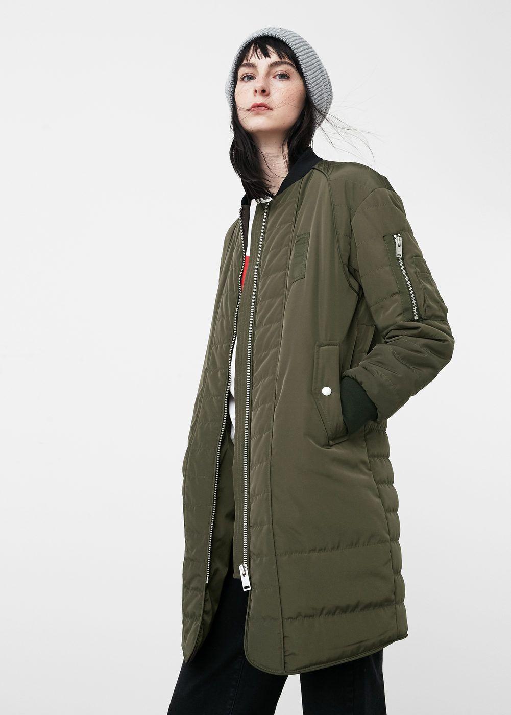 Long Zipped Bomber Women Mango Usa Long Bomber Jacket Jackets Bomber Jacket Women [ 1400 x 1001 Pixel ]
