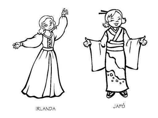 Vestuario de Irlanda y Japón para colorear | Dibujos para colorear ...