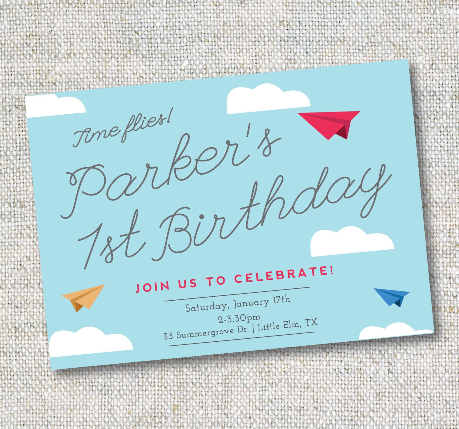 Items Similar To Airplane Birthday Invitation: Pin By Jessica Williams On First Birthday Party.
