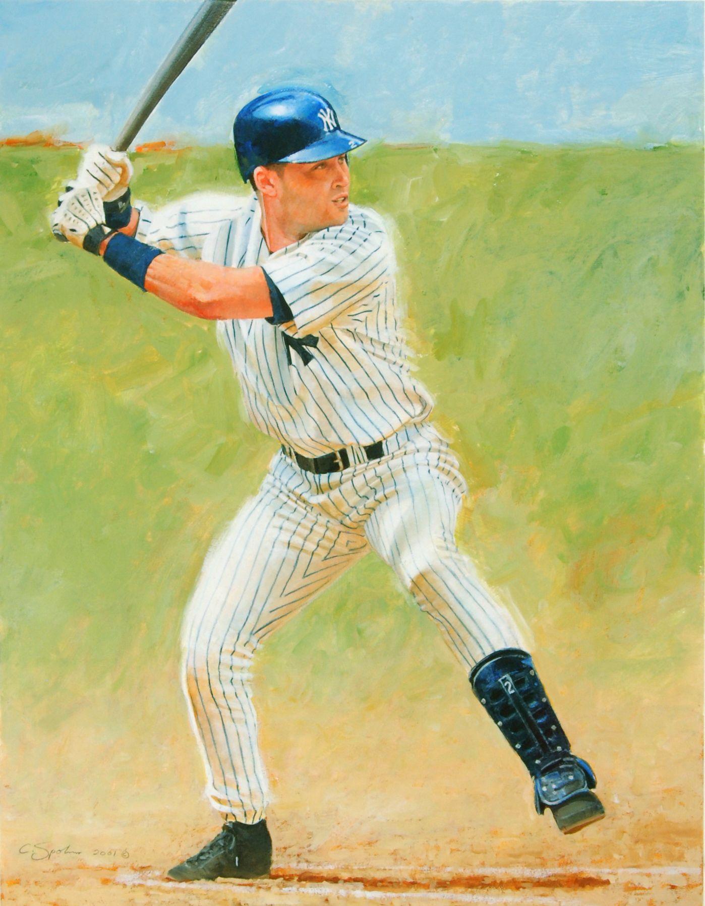 Derek Jeter, NY Yankees 16x20 acrylic artwork by Cliff Spohn ...