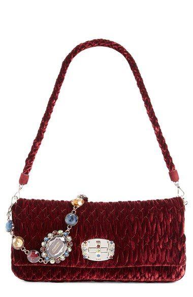 MIU MIU Medium Crystal Embellished Quilted Velvet Shoulder Bag.  miumiu   bags  shoulder bags  crystal  velvet   b919f82c01cb0