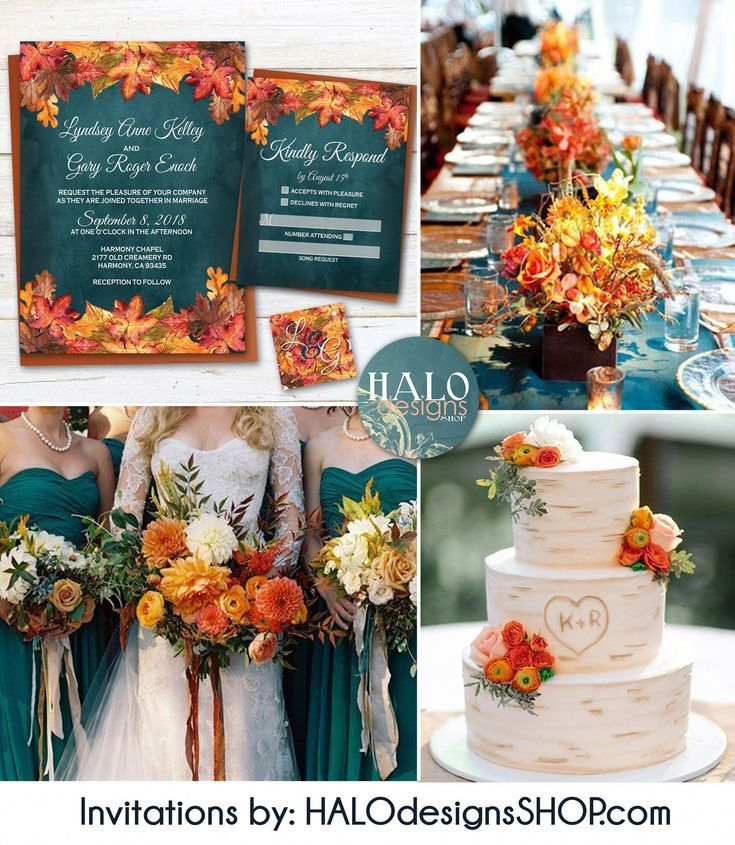 Rustic Fall Wedding invitation, Orange & Teal Wedding invitation, rustic invitations, Fall wedding invitations, fall leaves, teal, fall teal #fallweddingideas