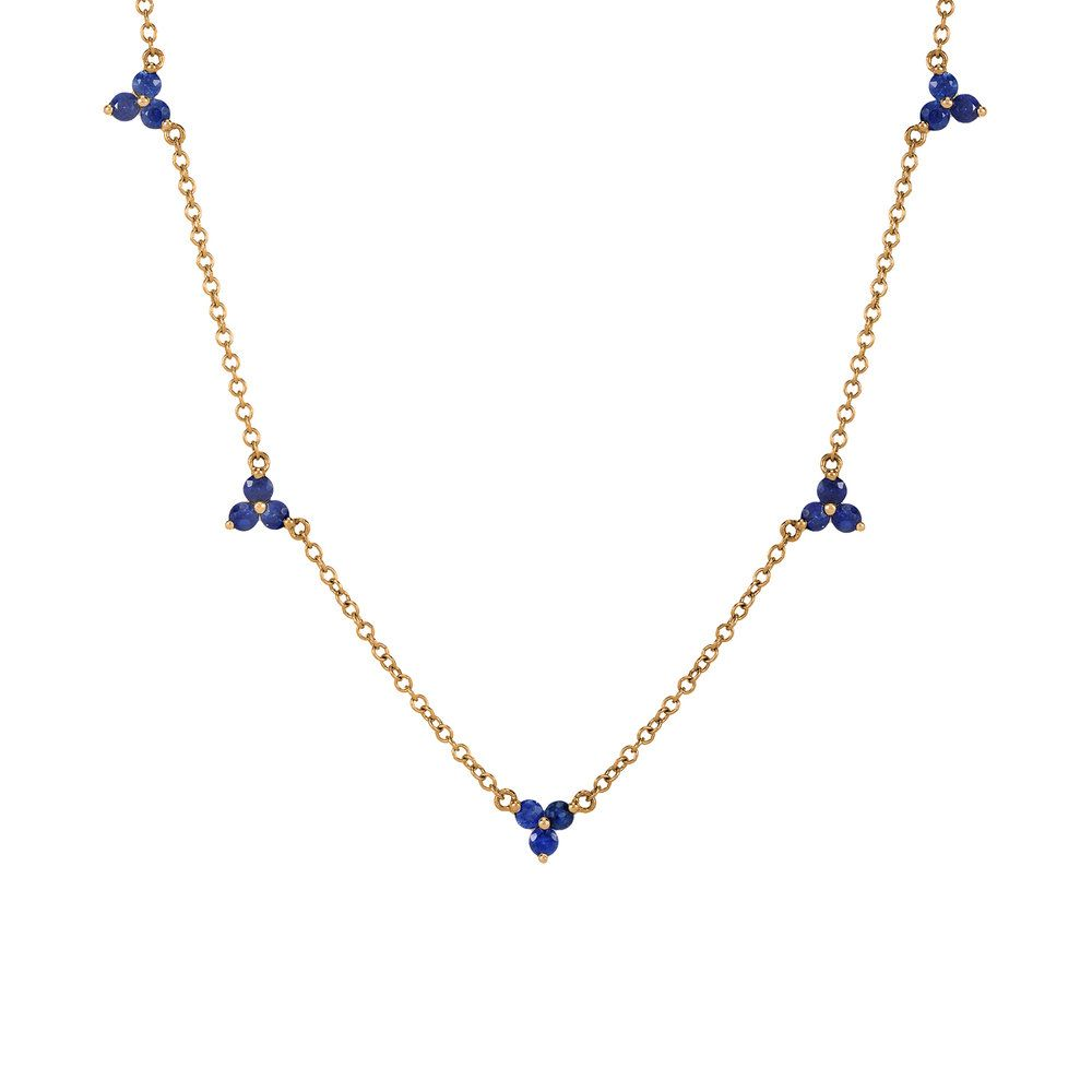Kt gold tri sapphire station necklace station necklace sapphire