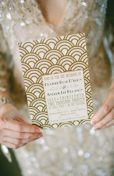 Great Gatsby Invite Art Deco Wedding