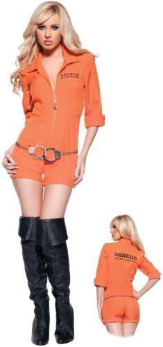 b559f3d64735 Busted Prisoner Jumpsuit Orange Jail Sexy Jumper Womens Halloween Costume  XL