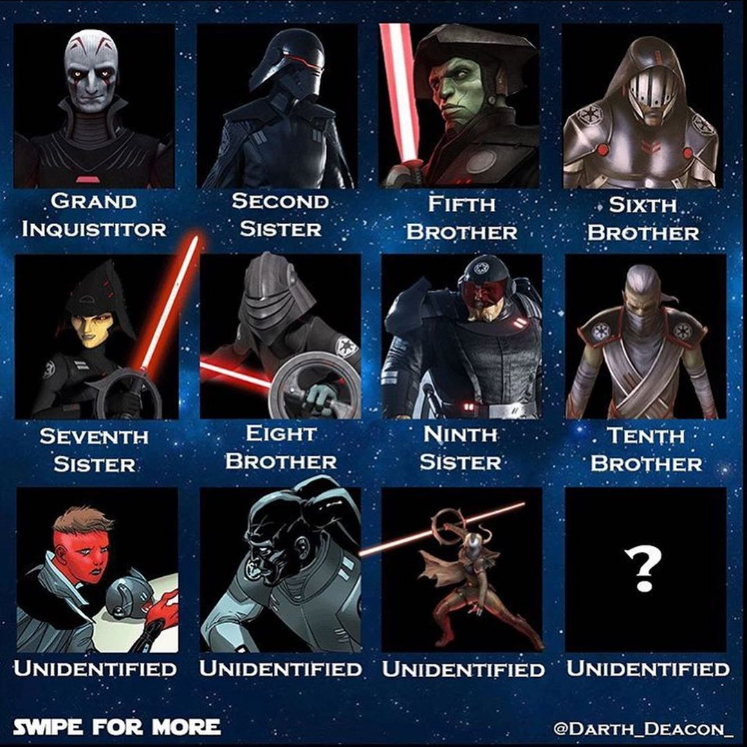 All The Inquisitors Via Darth Deacon The Last Pictured Unidentified Female Inquisitor Is Jerserra From S Star Wars Villains Star Wars Empire Star Wars Books