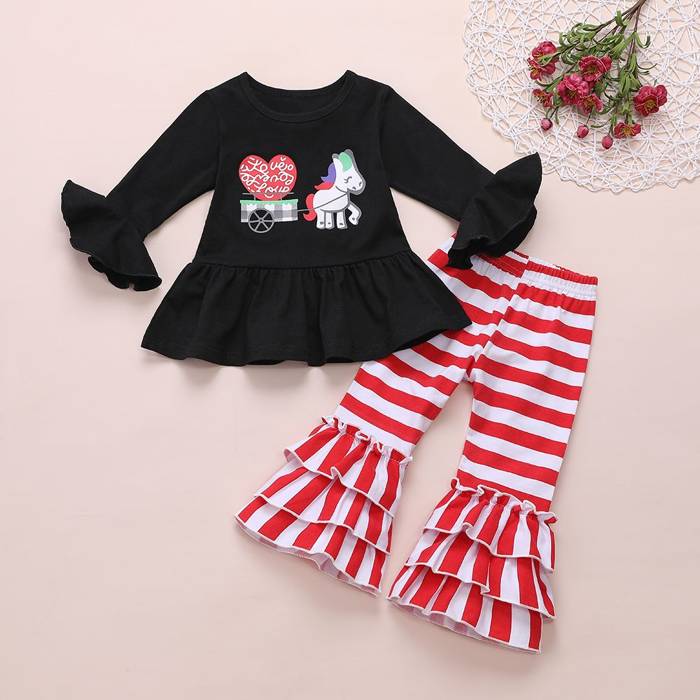 Newborn Fly Sleeve Printed Ruffle Romper Jumpsuit+Headbands Outfits Cyeer Baby Girl Outfits