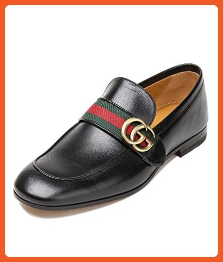 68a7834839b4b Wiberlux Gucci Men's Striped Strap Leather Loafers 9.0 Black ...
