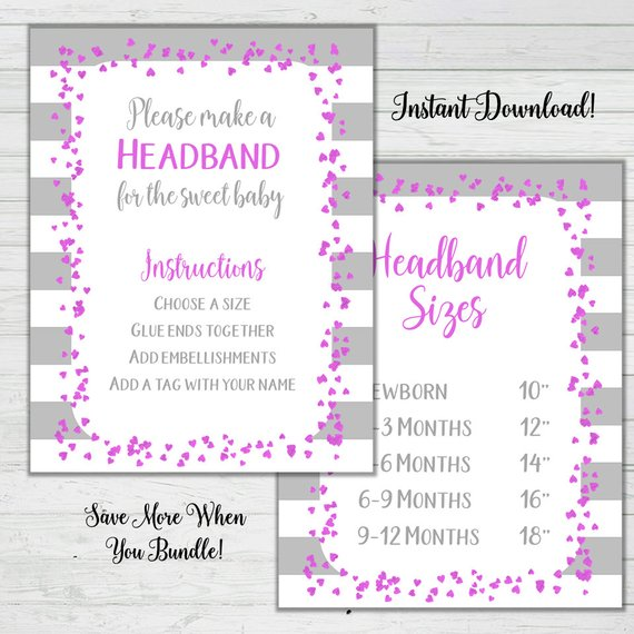 Pink And Grey Headband Station Signs Baby Shower Signs Girl Baby