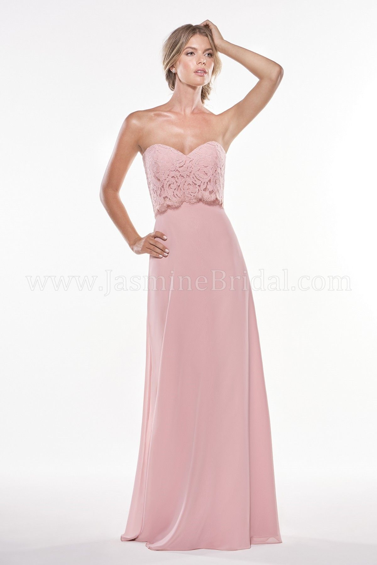Rose colored wedding dress  Jasmine Bridal  Jasmine Bridesmaids Style P in Rose  Spring