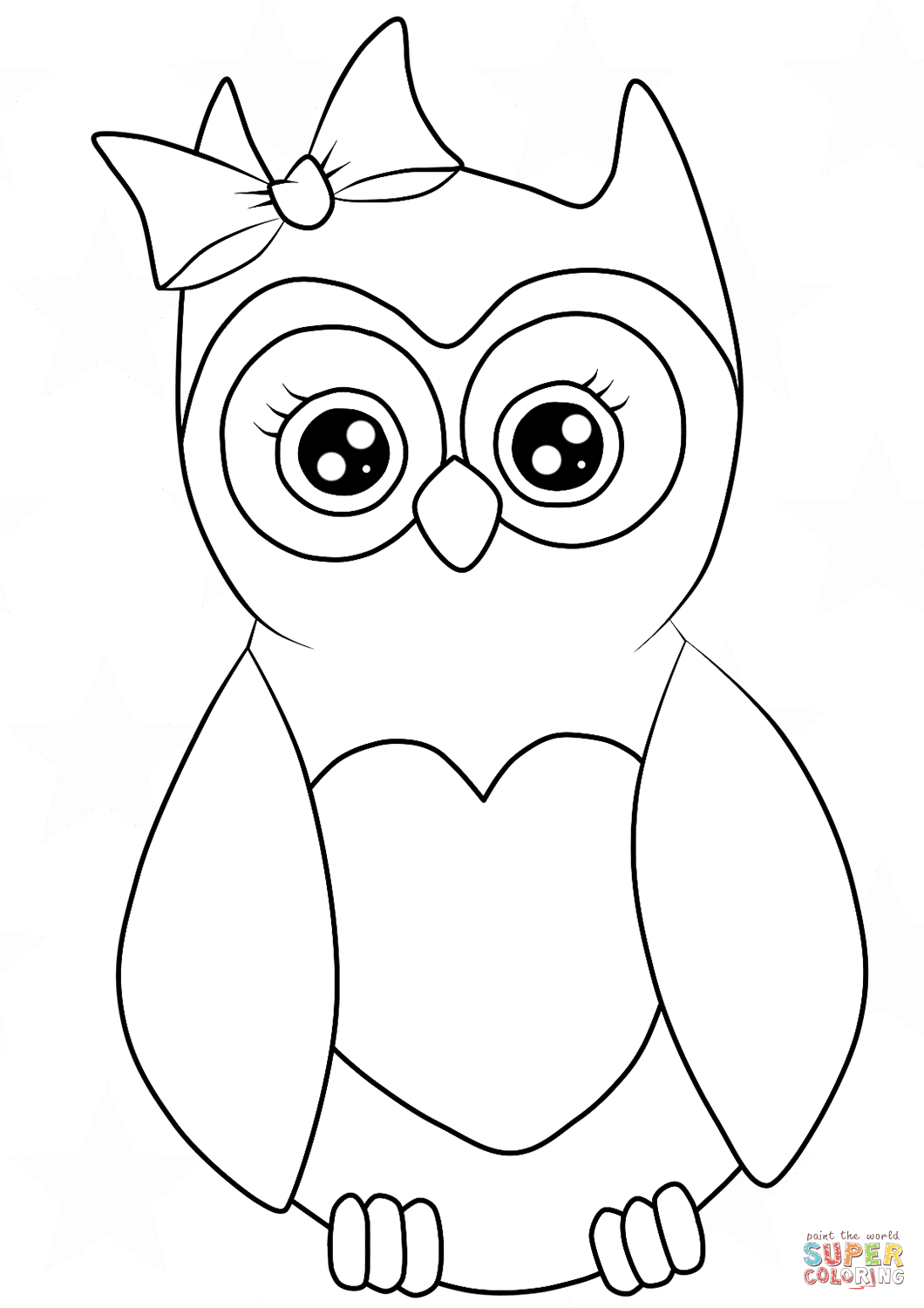 Cutest Cartoon Owl Coloring Page Free Printable Leopard