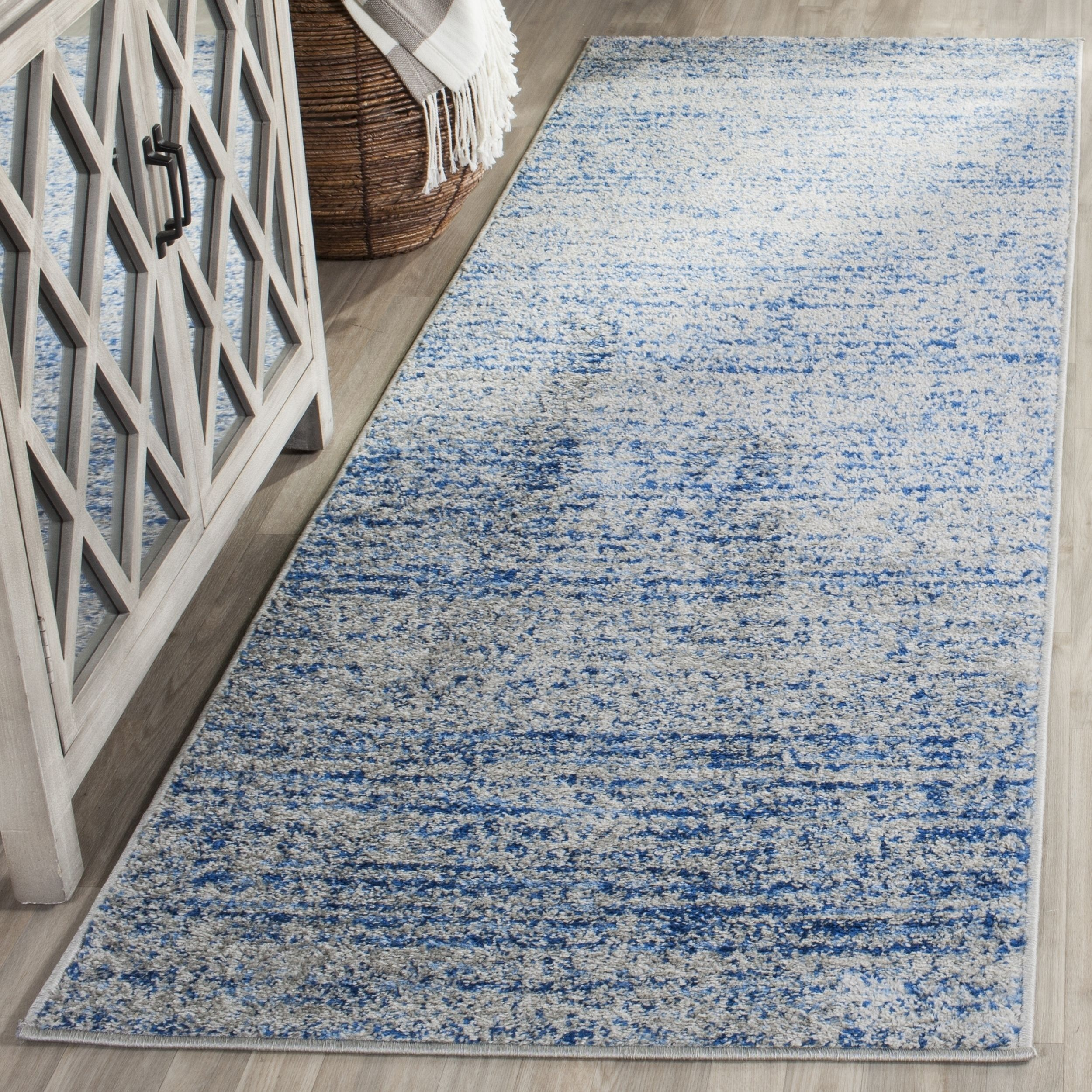 Safavieh Adirondack Modern Abstract Blue / Silver Runner Rug 6 X Size X
