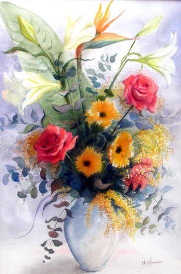 Aquarelles Bouquet De Fleurs Vente Aquarelles De Fleurs