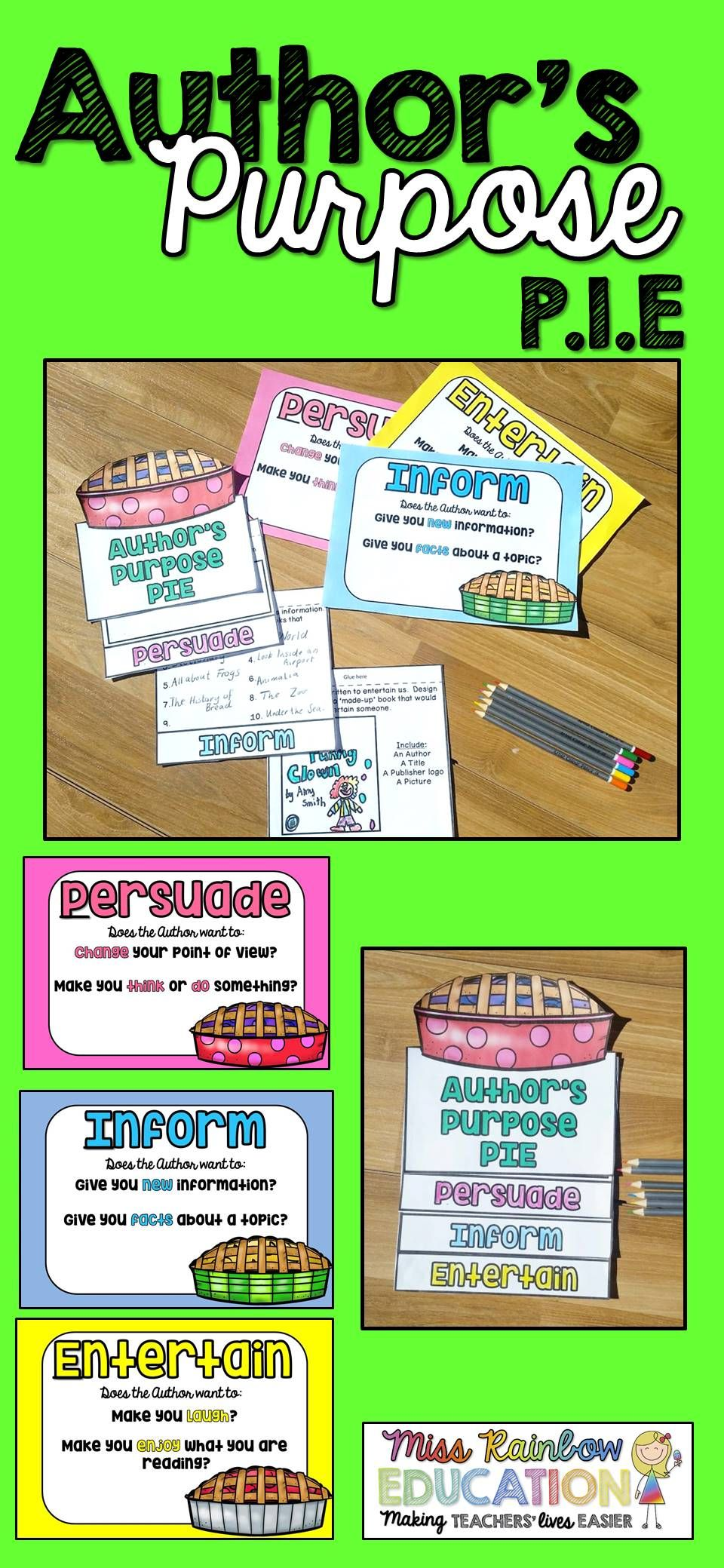 Authors Purpose Anchor Charts And Activities Pie Awesome Fourth