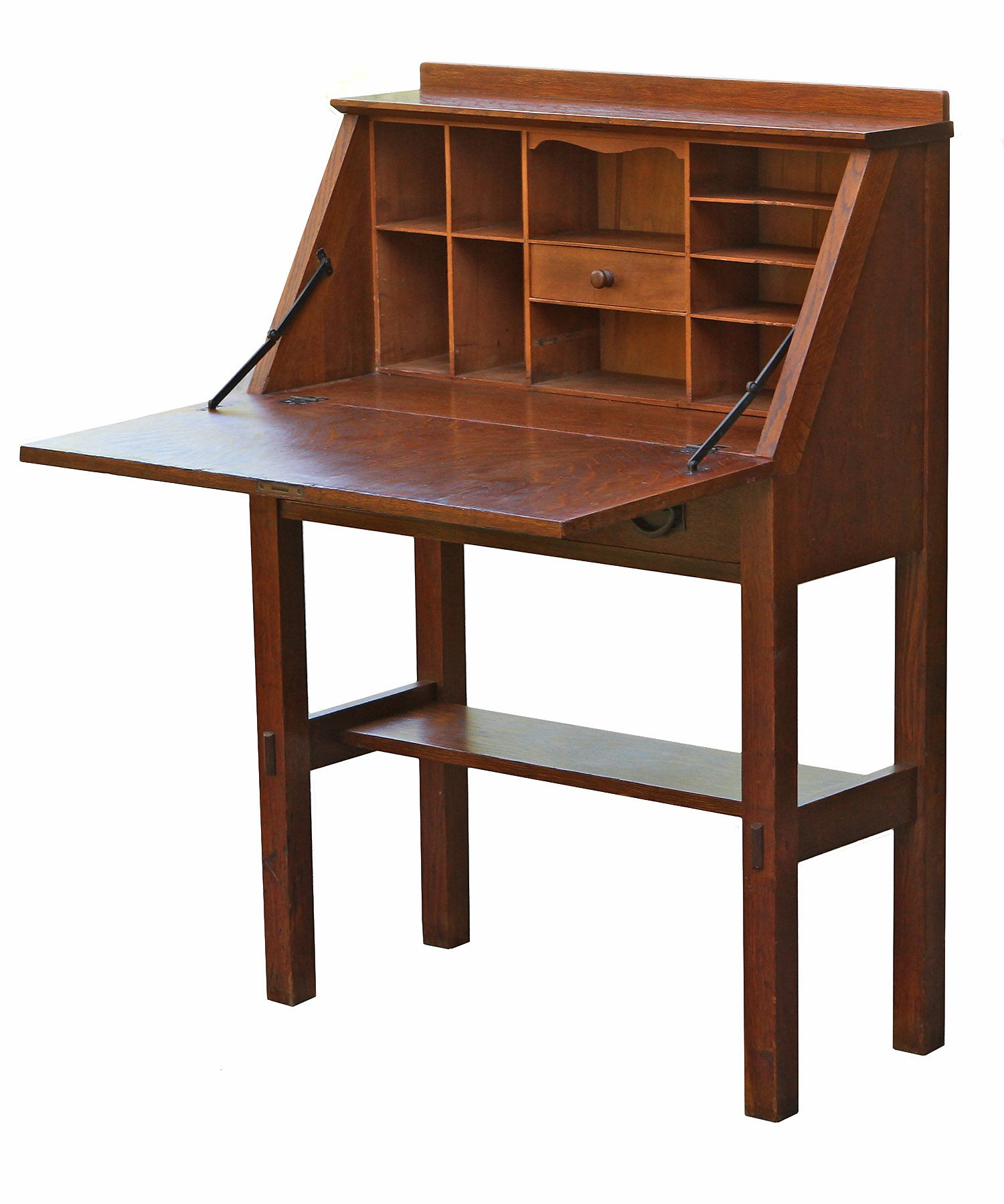 Stickley Drop Leaf Secretary Desk C 1910 Open Drop Down Desk