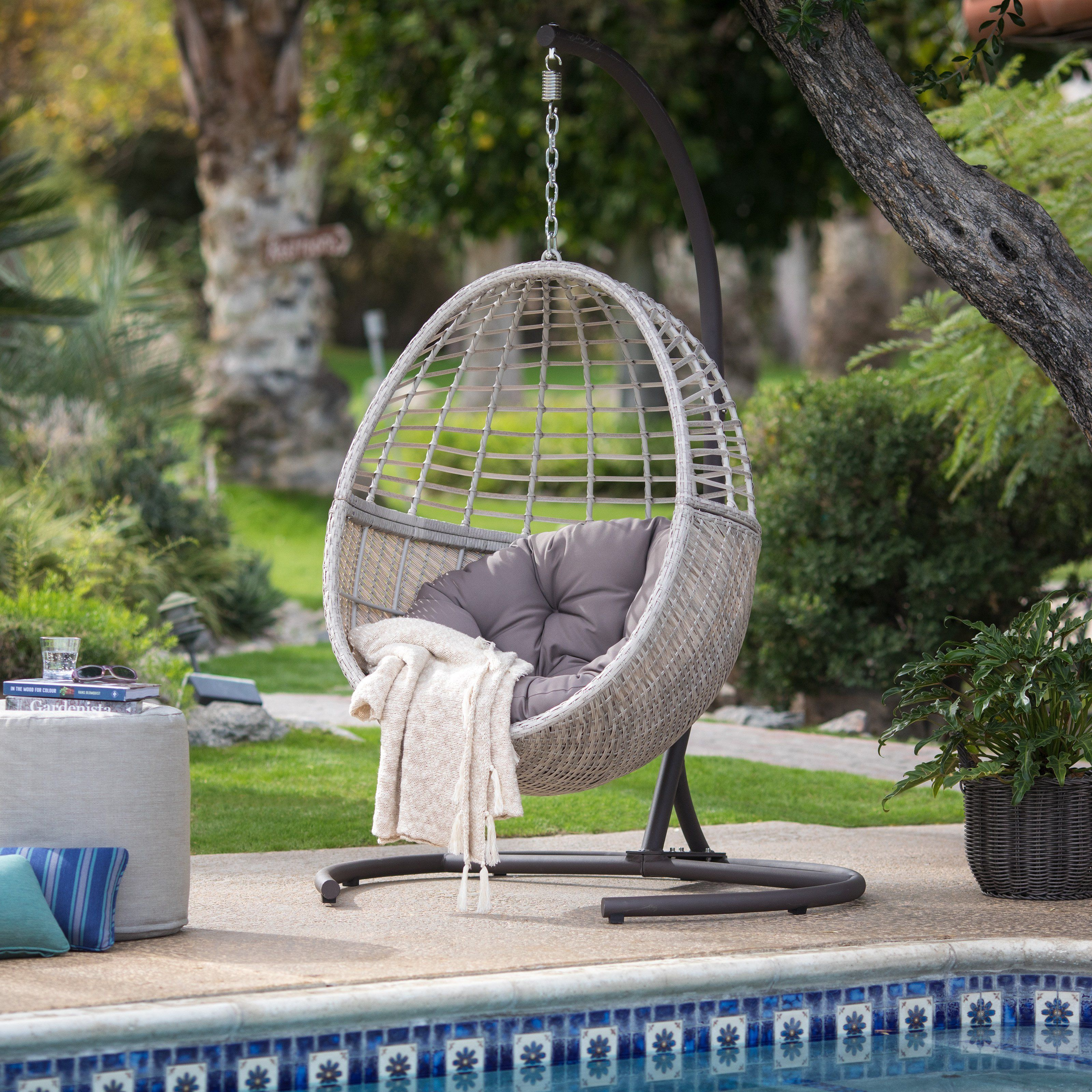 Island Bay Palma Resin Wicker Hanging Egg Chair with