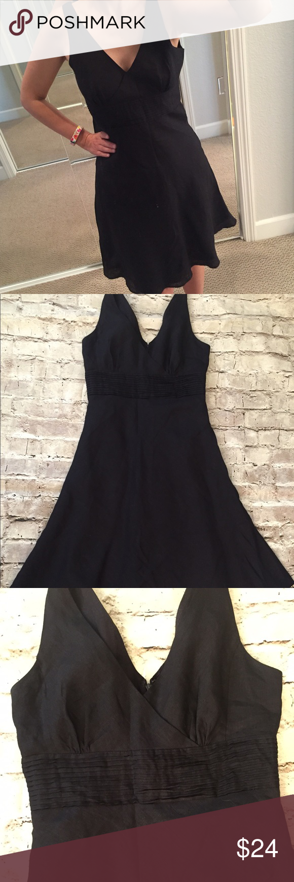 J. Crew linen dress Black, fully lined dress with back zipper. This dress was one of my favorites but it feels a bit too tight on me and I'm looking for a bigger size and selling mine. J. Crew Dresses