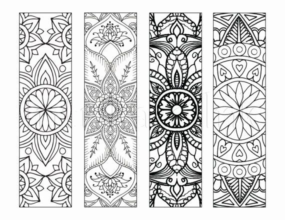 4 Mandala Colouring Bookmarks Set 1 Instant Download Printable