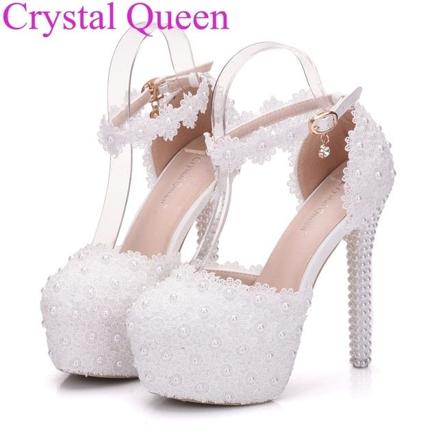 764c3abc3e19 Lace pumps for women Crystal Queen white lace wedding shoes pumps pearls heels  women high