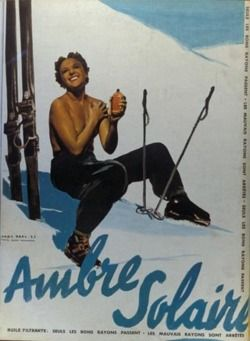 vintage ski advertising poster - Ambre Solaire lotion