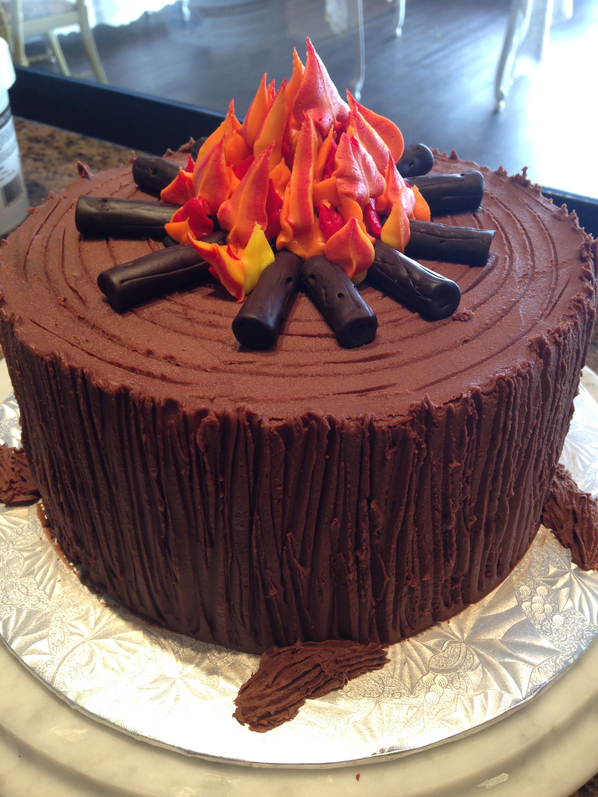 Admirable Campfire Cake Decorated With Butter Cream Icing Campfire Cake Funny Birthday Cards Online Alyptdamsfinfo