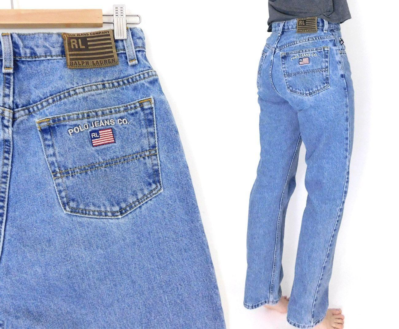 4bc9fafeed91 Sz 10 90s Women s High Waisted Polo Jeans - Women s Vintage Ralph Lauren  Straight Leg Boyfriend Jeans - 29 Waist