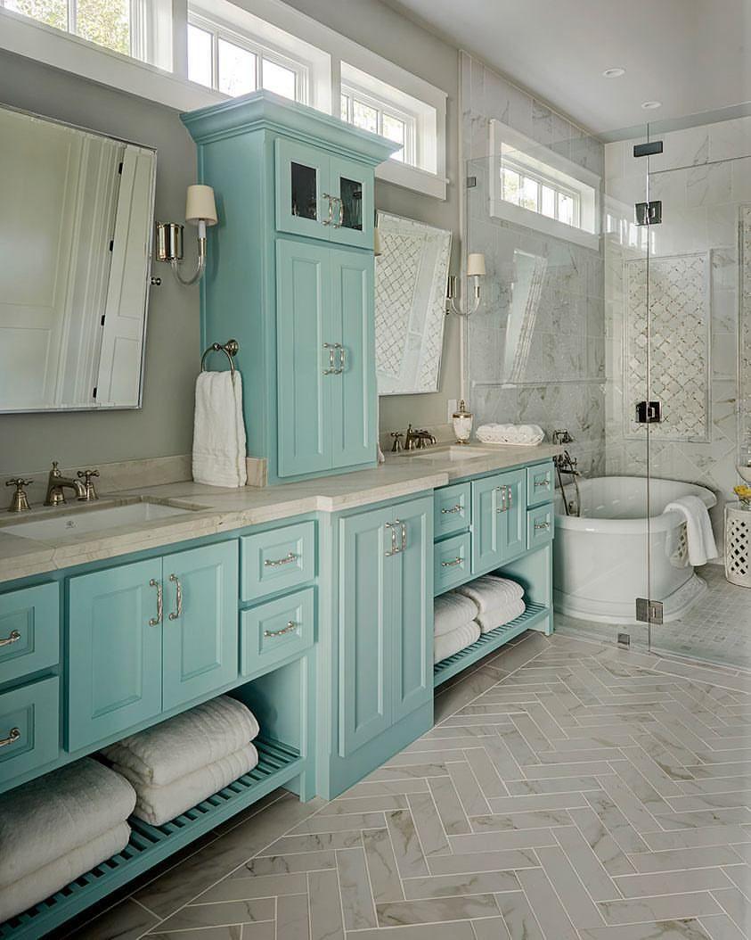 Sherwin Williams Aquaverde Home Herringbone Marble Floor Blue Bathroom