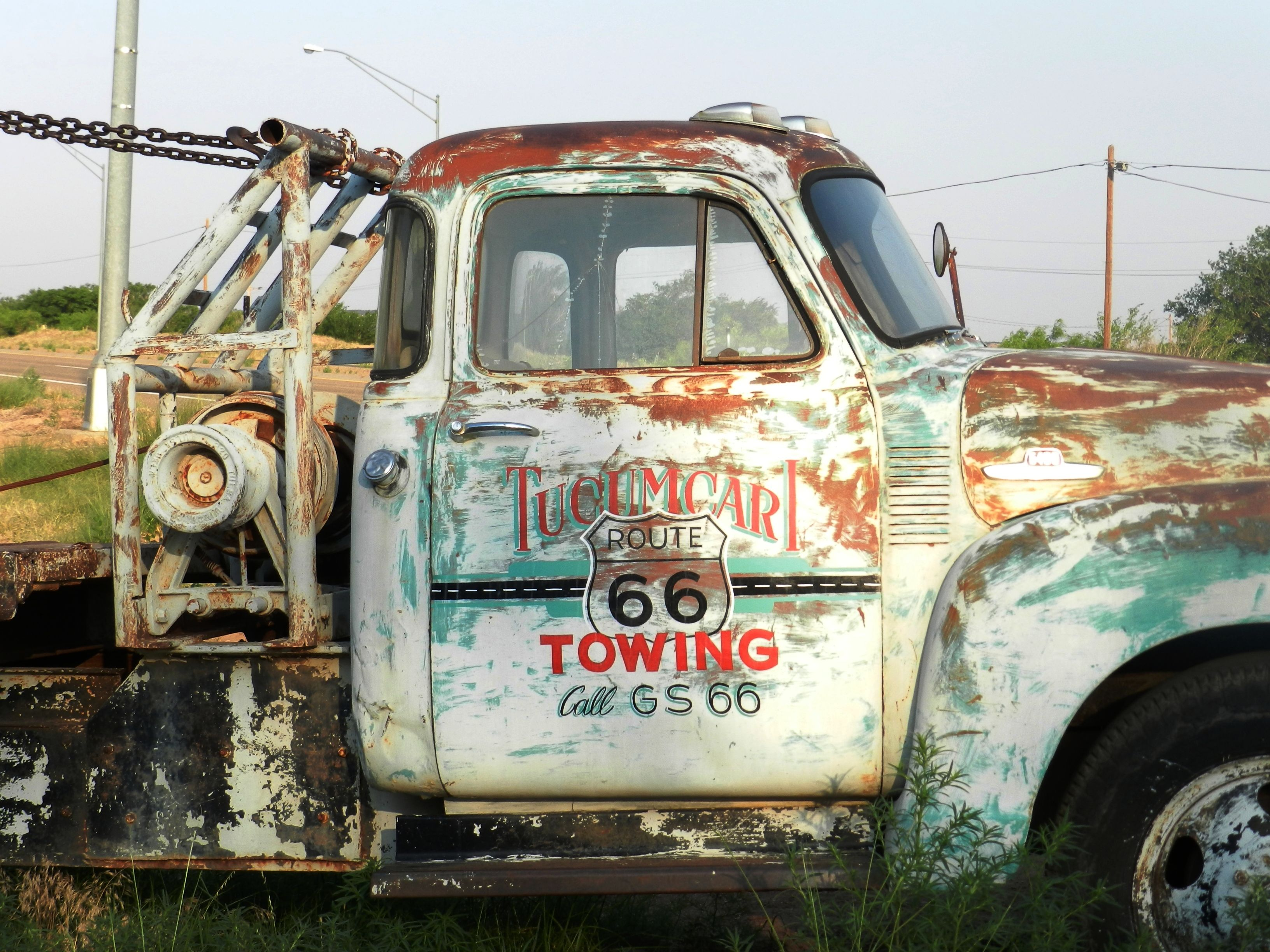Boom tow truck on #Route66. It sits in a cool junk yard right ...