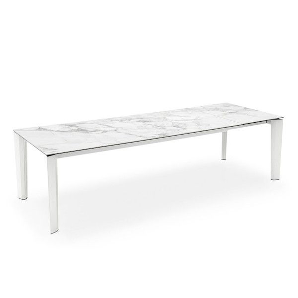 Table rectangulaire extensible delta calligaris c ramique verre marbre blanc table manger - Table marbre rectangulaire ...