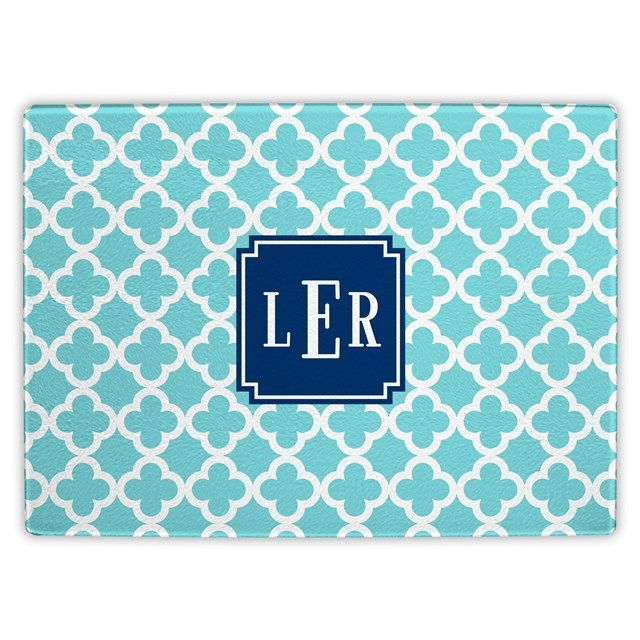 Boatman Geller Personalized Bristol Tile Teal Glass Cutting Board BG31CBP07SI03A03