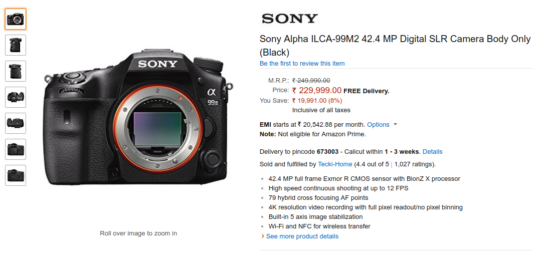 Sony Alpha A99 Mark ii ( ILCA-99M2 ) Price in India on Amazon ...