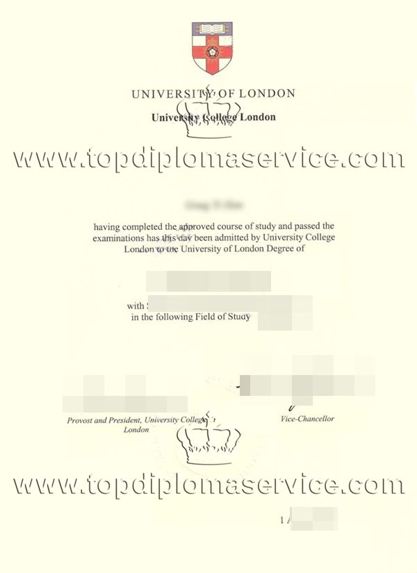 University of London University College London degree certificate ...