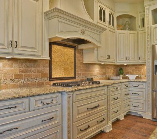 Ivory Glazed Kitchen Cabinets