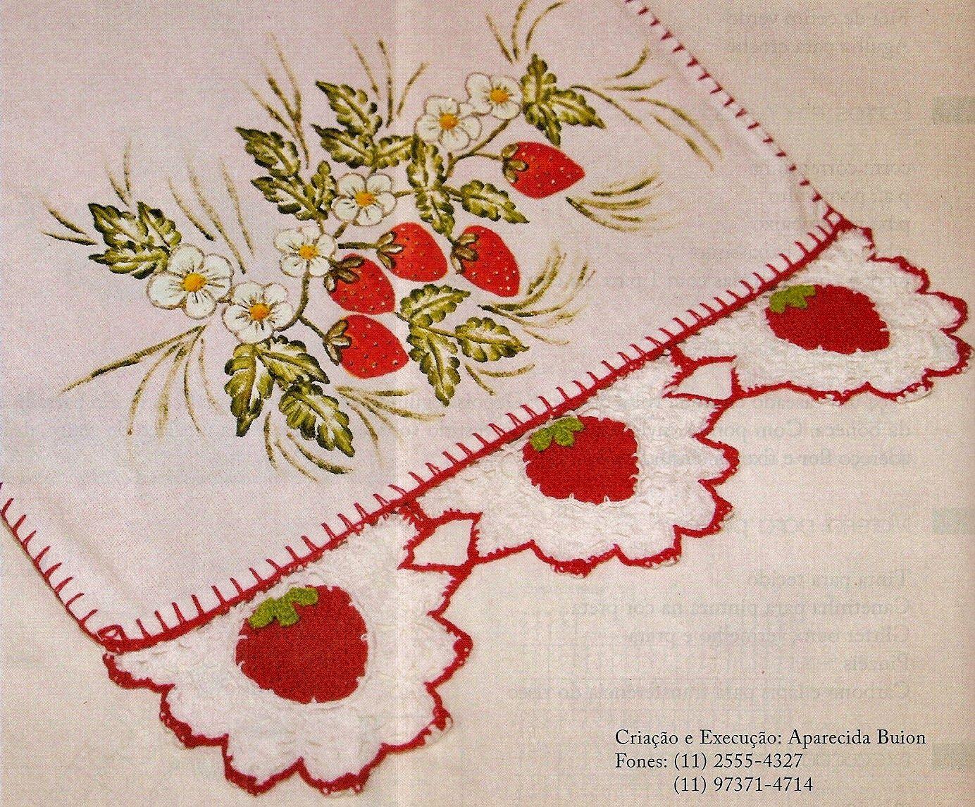 Barrado Em Croche Com Morangos Graciosos Barrados De Croche
