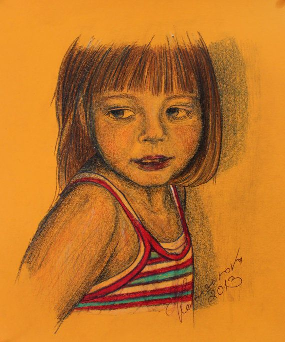 Portrait of baby girl original pencil drawing art quick sketch artist europe