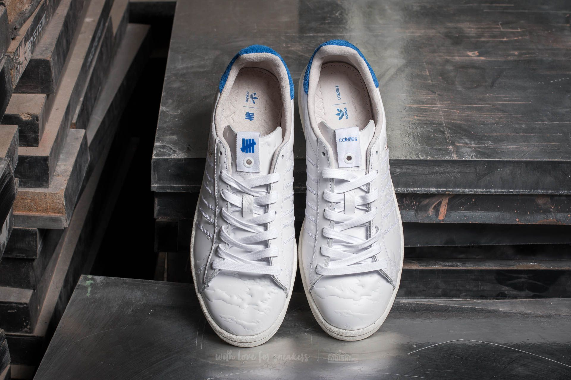 promo code bde17 5d647 adidas x Colette x Undefeated Campus S.E. Ftw White Core White Blue at a