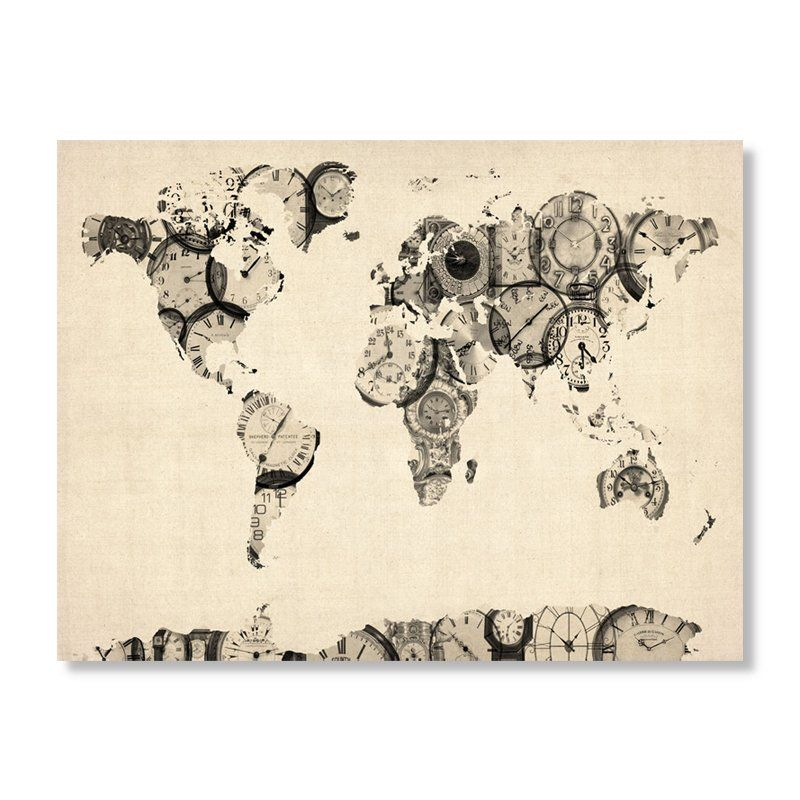 Old clocks world map by michael tompsett 18 x 24 in find it at old clocks world map by michael tompsett 18 x 24 in find it gumiabroncs Choice Image