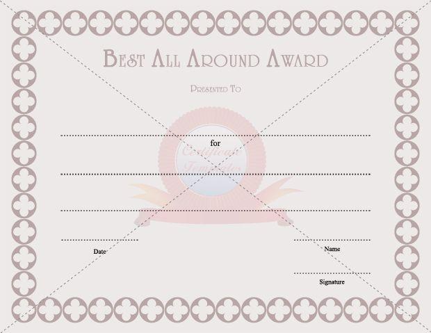 Best All Around Award EMPLOYEE AWARD CERTIFICATE TEMPLATES - best of certificate templates for powerpoint