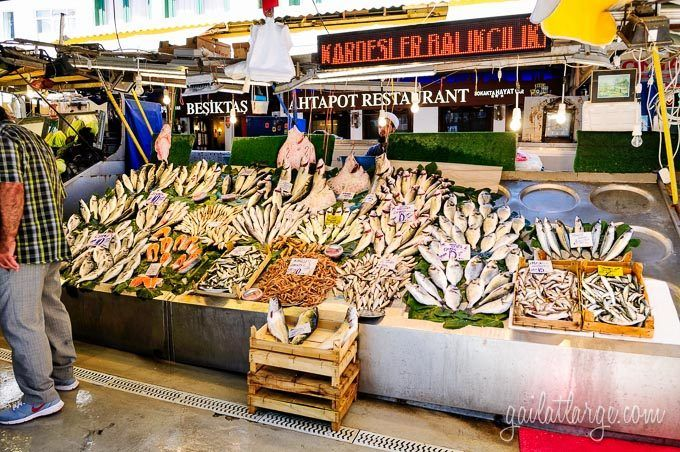 artfully-arranged fish at the market in Besiktas, Istanbul